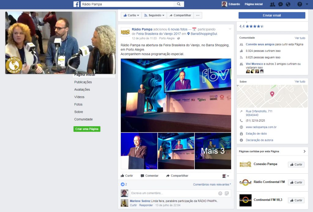 Fanpage Rádio Pampa no Facebook: Entrevistas ao vivo e cobertura completa do evento.